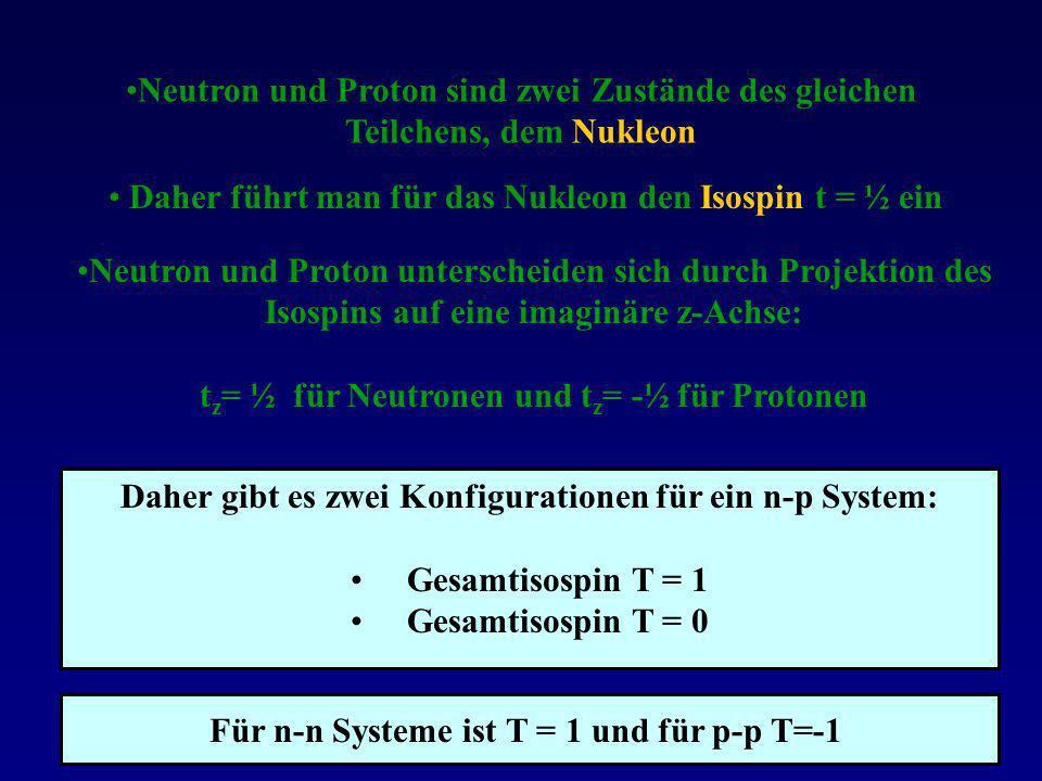 Neutron und Proton unterscheiden sich durch Projektion des Isospins auf eine imaginäre z-Achse: t z = ½ für Neutronen und t z = -½ für Protonen Neutro