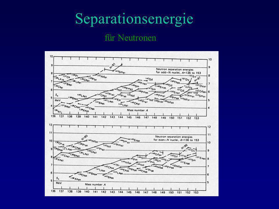 Separationsenergie für Neutronen