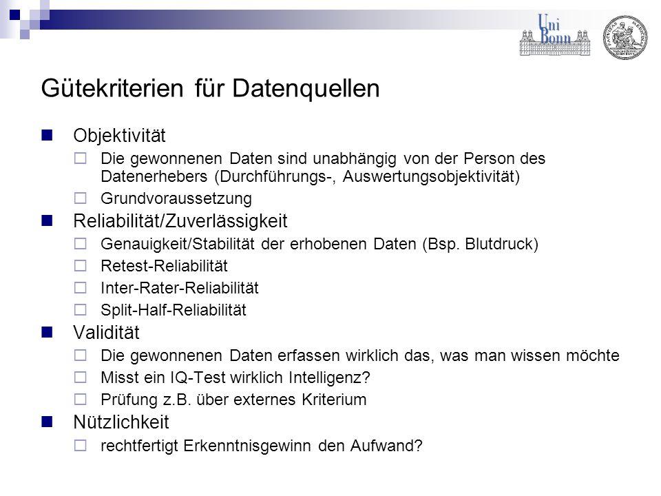 Gütekriterien für Datenquellen Objektivität Die gewonnenen Daten sind unabhängig von der Person des Datenerhebers (Durchführungs-, Auswertungsobjektiv