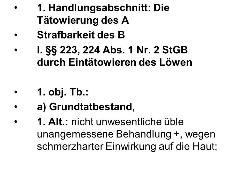 1.Handlungsabschnitt: Die Tätowierung des A Strafbarkeit des B I.