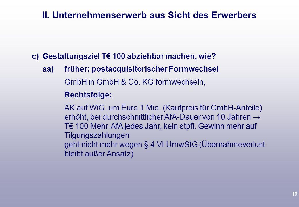 9 b)Debt push down x-GmbH übernimmt Schuld von A.Problem: vGA von x-GmbH.