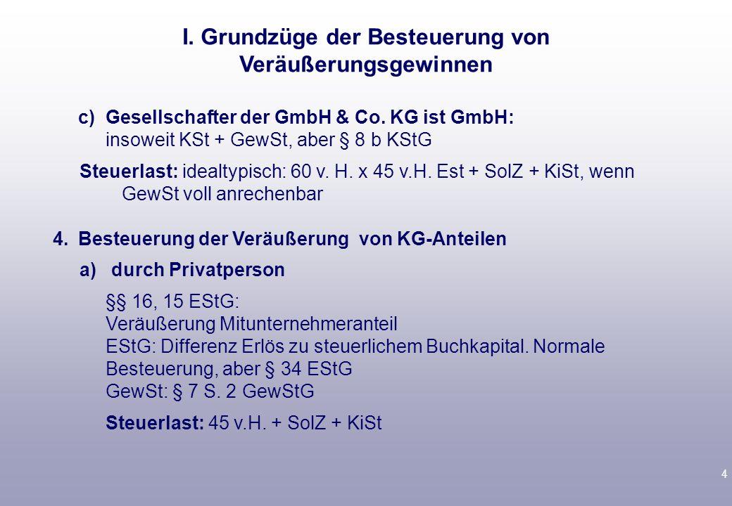 3 2.Besteuerung bei Veräußerung von Kapitalgesellschaftsanteilen durch Körperschaften a)§ 8 b KStG 95 v.