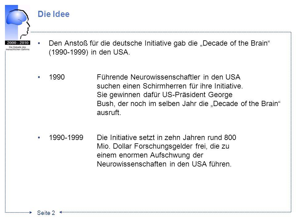 Seite 2 Die Idee Den Anstoß für die deutsche Initiative gab die Decade of the Brain (1990-1999) in den USA. 1990Führende Neurowissenschaftler in den U
