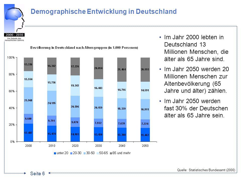 Seite 7 Entwicklung der Zahl von Demenzkranken Quelle: Bickel (2001) Die Zahl der Demenzkranken wird sich bis 2050 von ca.