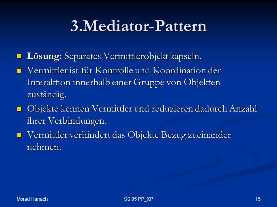 Morad Harrach 15SS 05 PP_XP 3.Mediator-Pattern Lösung: Separates Vermittlerobjekt kapseln. Lösung: Separates Vermittlerobjekt kapseln. Vermittler ist