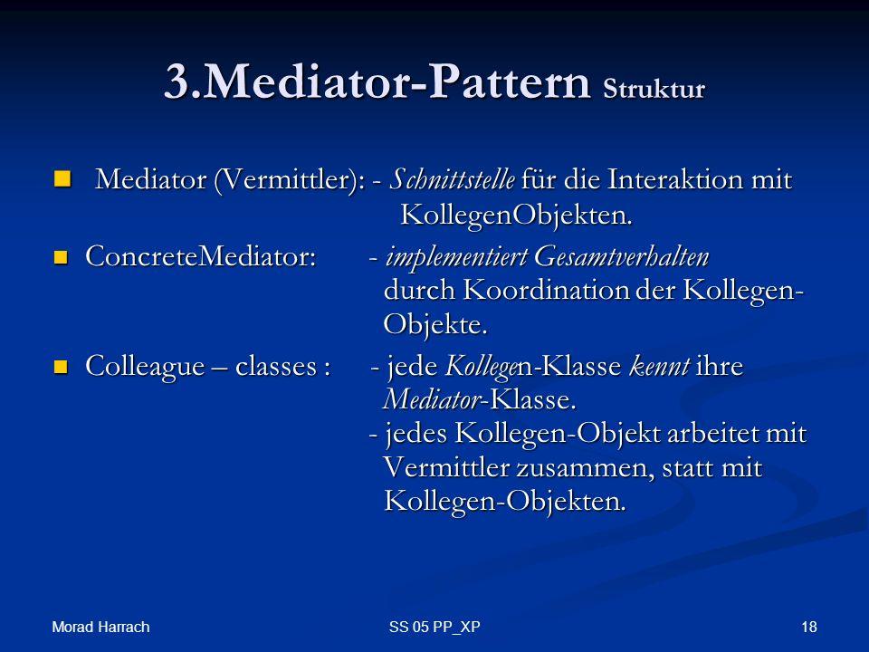 Morad Harrach 18SS 05 PP_XP 3.Mediator-Pattern Struktur Mediator (Vermittler): - Schnittstelle für die Interaktion mit KollegenObjekten. Mediator (Ver