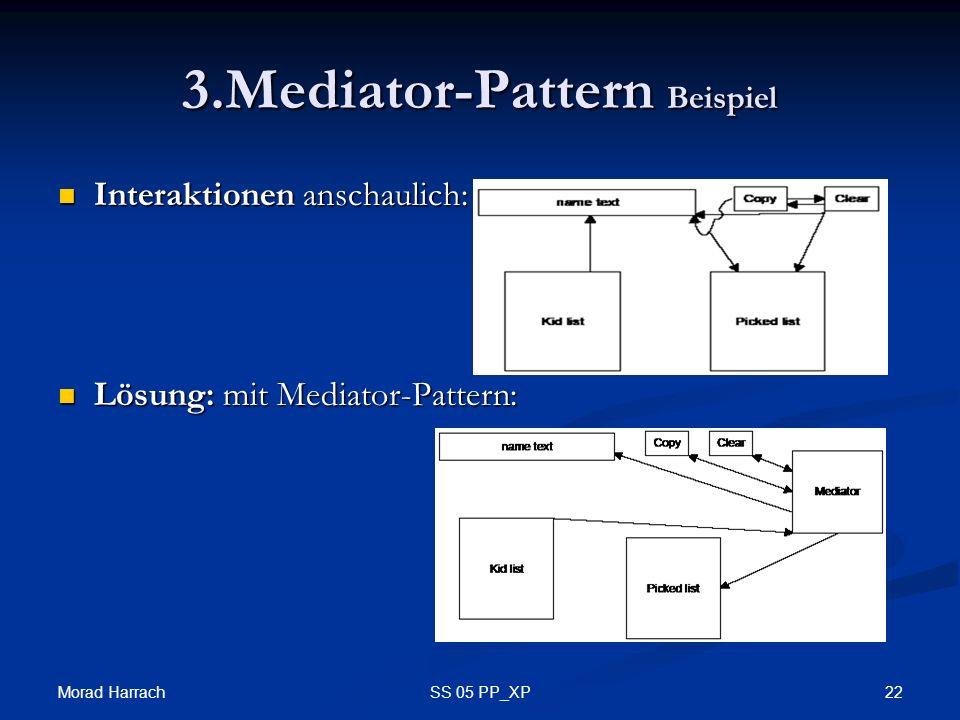 Morad Harrach 22SS 05 PP_XP 3.Mediator-Pattern Beispiel Interaktionen anschaulich: Interaktionen anschaulich: Lösung: mit Mediator-Pattern: Lösung: mit Mediator-Pattern: