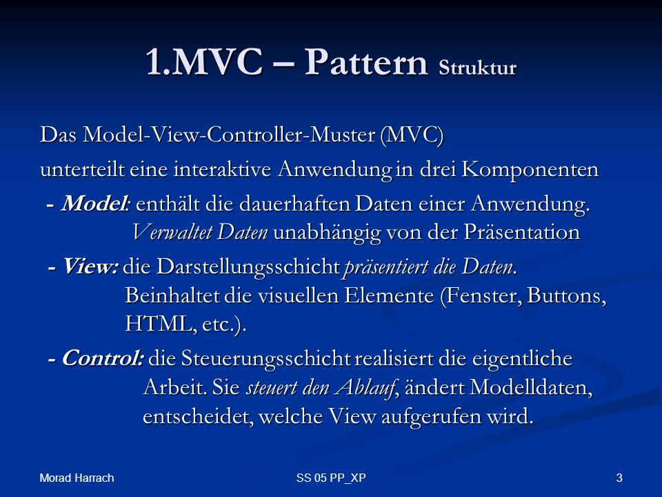 Morad Harrach 3SS 05 PP_XP 1.MVC – Pattern Struktur Das Model-View-Controller-Muster (MVC) unterteilt eine interaktive Anwendung in drei Komponenten - Model: enthält die dauerhaften Daten einer Anwendung.