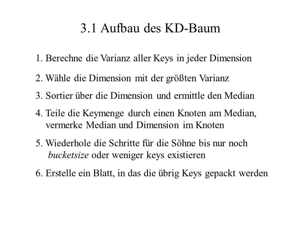 3.1 Aufbau des KD-Baum 1. Berechne die Varianz aller Keys in jeder Dimension 2. Wähle die Dimension mit der größten Varianz 3. Sortier über die Dimens
