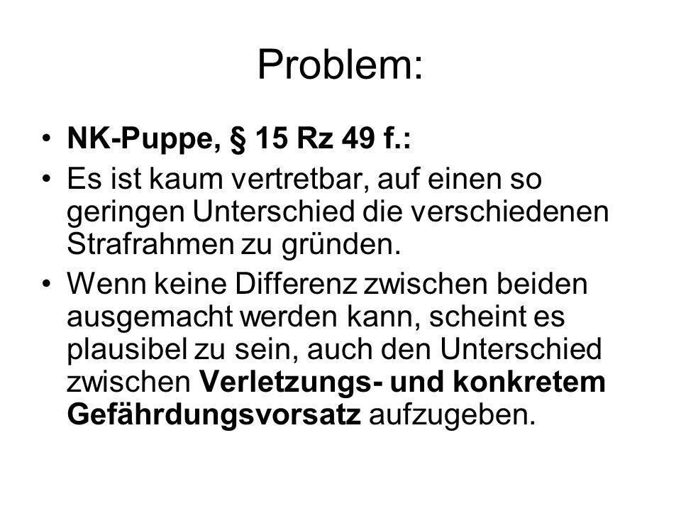 Problem: NK-Puppe, § 15 Rz 49 f.: Es ist kaum vertretbar, auf einen so geringen Unterschied die verschiedenen Strafrahmen zu gründen. Wenn keine Diffe