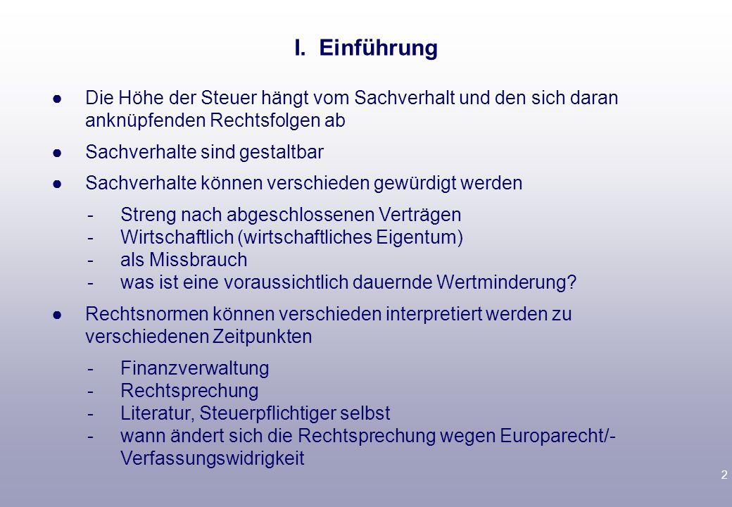 1 Vorlesungsbegleitende Literatur Tipke/Lang, § 21, § 5 A.; Birk § 5 Rechtssicherheit im Steuerrecht