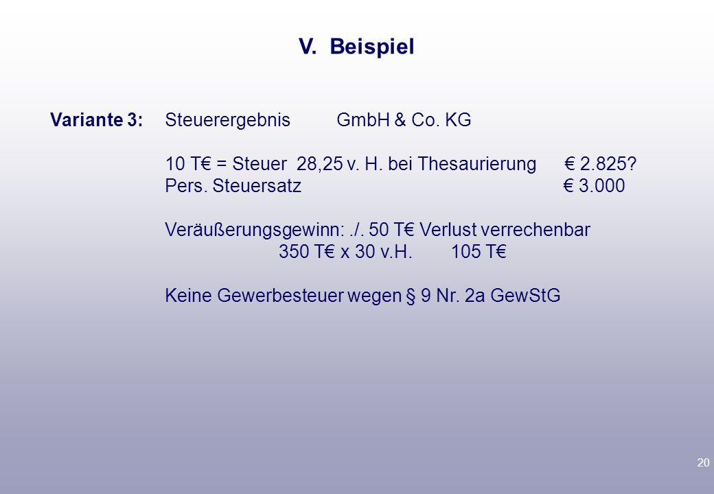 19 Variante 2: Steuerergebnis GmbH 70 T./.