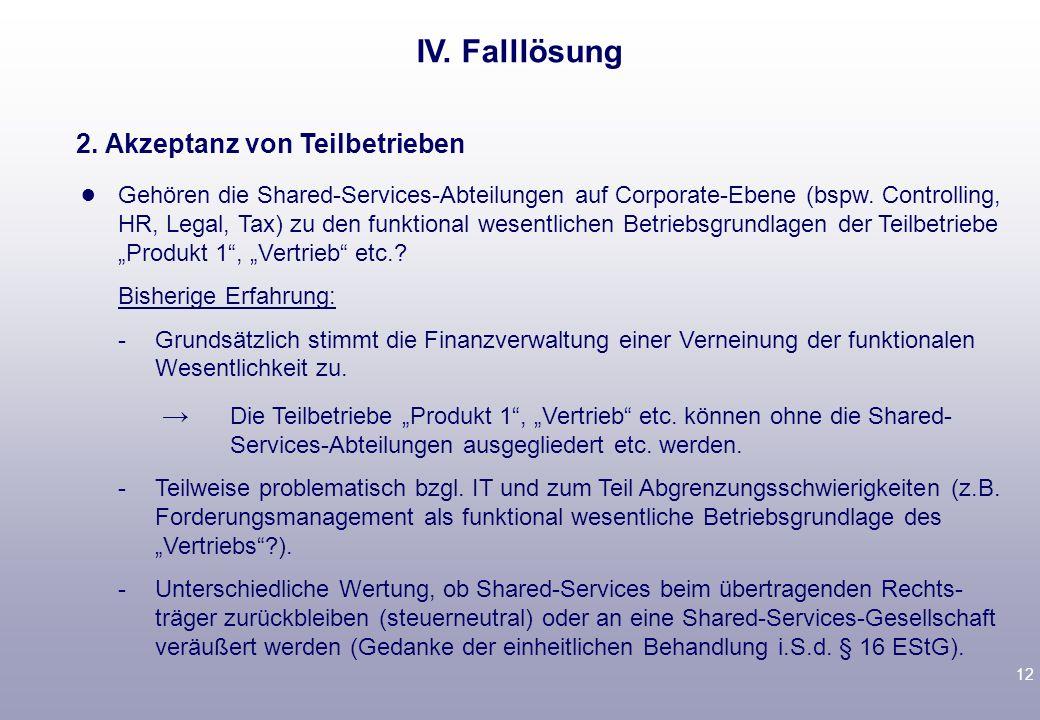 11 IV.Falllösung Corporate-Ebene (bspw.