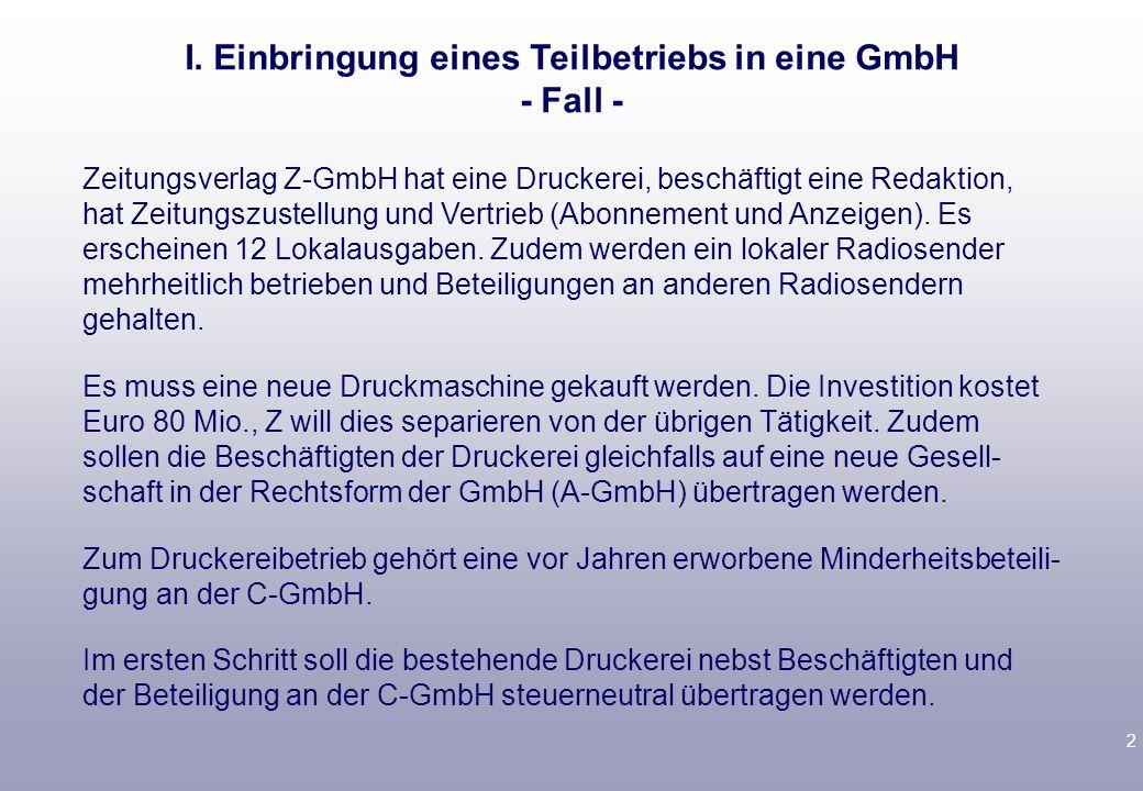 1 Vorlesungsbegleitende Literatur Tipke/Lang, § 18 F Birk, Steuerrecht, § 7 D Rz. 1192 ff. Steuerneutrale Umstrukturierung