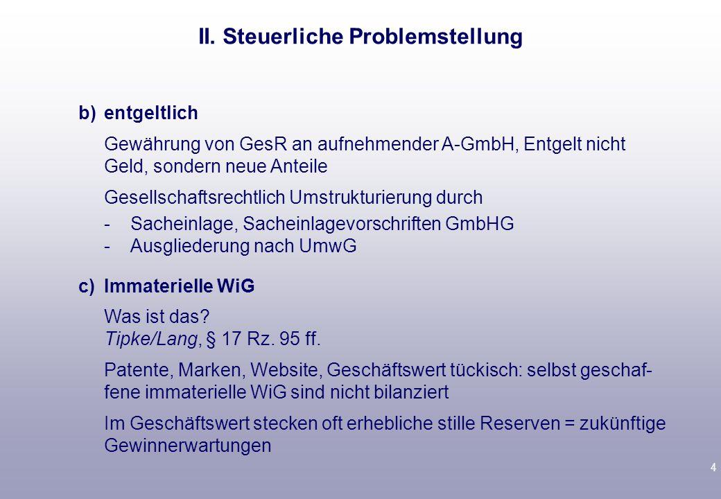 4 b)entgeltlich Gewährung von GesR an aufnehmender A-GmbH, Entgelt nicht Geld, sondern neue Anteile Gesellschaftsrechtlich Umstrukturierung durch -Sacheinlage, Sacheinlagevorschriften GmbHG -Ausgliederung nach UmwG c)Immaterielle WiG Was ist das.