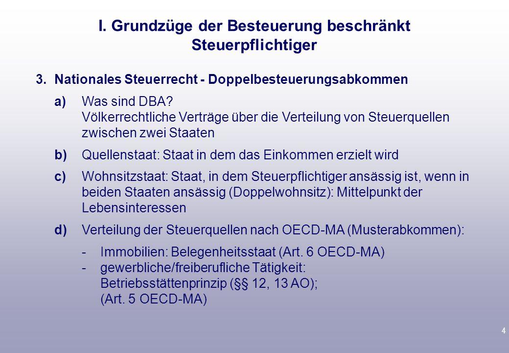 4 3.Nationales Steuerrecht - Doppelbesteuerungsabkommen a)Was sind DBA.