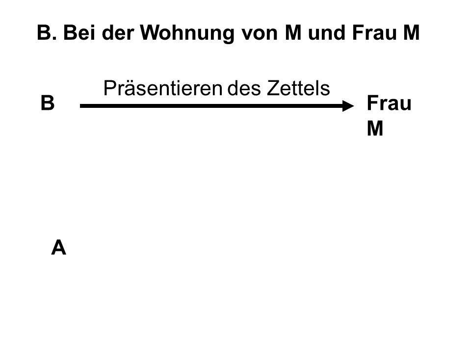 B. Bei der Wohnung von M und Frau M BFrau M A Präsentieren des Zettels