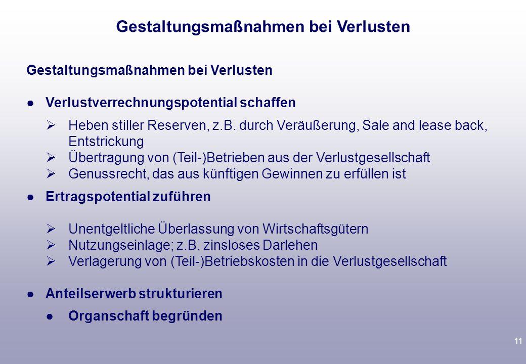 10 3.Folge für Investor Gewinne der O-GmbH müssen sofort versteuert werden Tückisch: Wer trägt Steuerlasten, die durch ao Ertrag auf Grund Forderungsv
