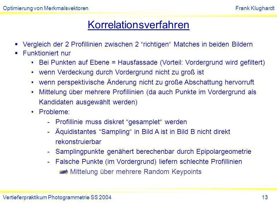 Optimierung von MerkmalsvektorenFrank Klughardt Vertieferpraktikum Photogrammetrie SS 200414 Problem: Samplingpunkte 1)Suche zu jedem Match ein anderes richtiges Match 2)Werte Profillinie in Bild A an Samplingpunkten aus 3)Werte Profillinie in Bild B an zugehörigen Samplingpunkten aus.