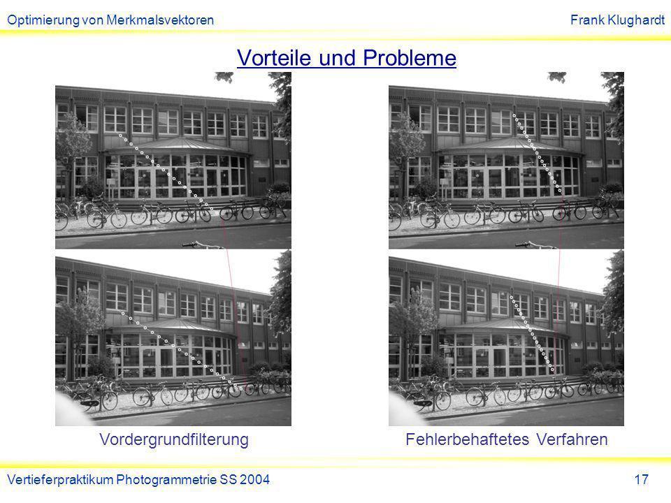 Optimierung von MerkmalsvektorenFrank Klughardt Vertieferpraktikum Photogrammetrie SS 200417 Vorteile und Probleme VordergrundfilterungFehlerbehaftetes Verfahren