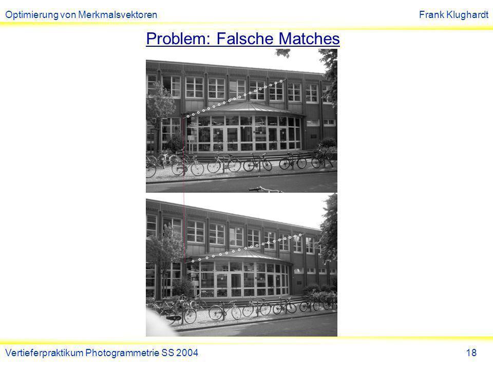 Optimierung von MerkmalsvektorenFrank Klughardt Vertieferpraktikum Photogrammetrie SS 200419 Problem: Falsche Matches 1)Suche zu jedem Match ein anderes richtiges Match 2)Werte Profillinie in Bild A äquidistant aus 3)Werte Profillinie in Bild B an Schnittpunkten aus 4)Berechne Korrelation beider Grauwert-Funktionen Liegt Korrelationswert unter Schwellwert Kennzeichne Match als falsch Problem: (anderes) richtiges Match erfüllt nur F.