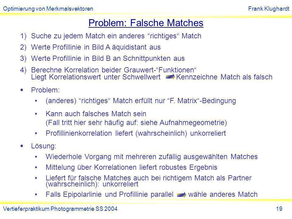 Optimierung von MerkmalsvektorenFrank Klughardt Vertieferpraktikum Photogrammetrie SS 200420 Beispiel:Random Points