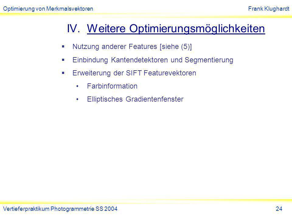 Optimierung von MerkmalsvektorenFrank Klughardt Vertieferpraktikum Photogrammetrie SS 200425 (1)Ausarbeitung Praktikum SS 2004 Optimierung von SIFT Features zum Wiederfinden von Hausfassaden, Andreas Wedel, 18.
