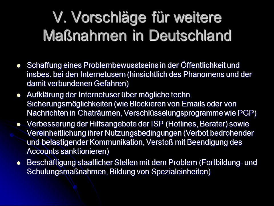 V. Vorschläge für weitere Maßnahmen in Deutschland Schaffung eines Problembewusstseins in der Öffentlichkeit und insbes. bei den Internetusern (hinsic