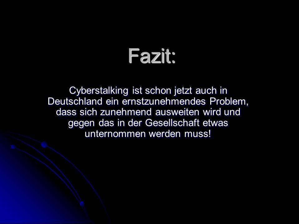 Fazit: Cyberstalking ist schon jetzt auch in Deutschland ein ernstzunehmendes Problem, dass sich zunehmend ausweiten wird und gegen das in der Gesells