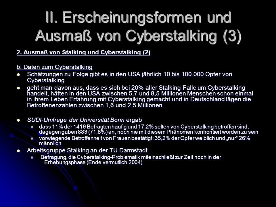 II. Erscheinungsformen und Ausmaß von Cyberstalking (3) 2. Ausmaß von Stalking und Cyberstalking (2) b. Daten zum Cyberstalking Schätzungen zu Folge g