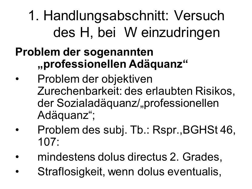 1. Handlungsabschnitt: Versuch des H, bei W einzudringen Problem der sogenannten professionellen Adäquanz Problem der objektiven Zurechenbarkeit: des