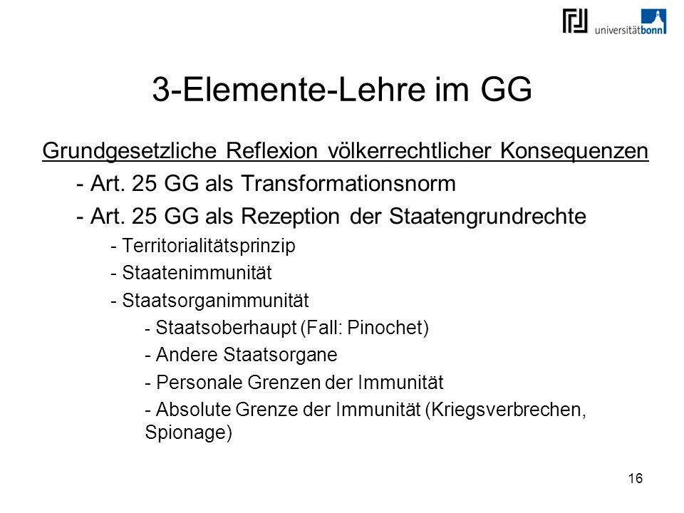 16 3-Elemente-Lehre im GG Grundgesetzliche Reflexion völkerrechtlicher Konsequenzen - Art. 25 GG als Transformationsnorm - Art. 25 GG als Rezeption de