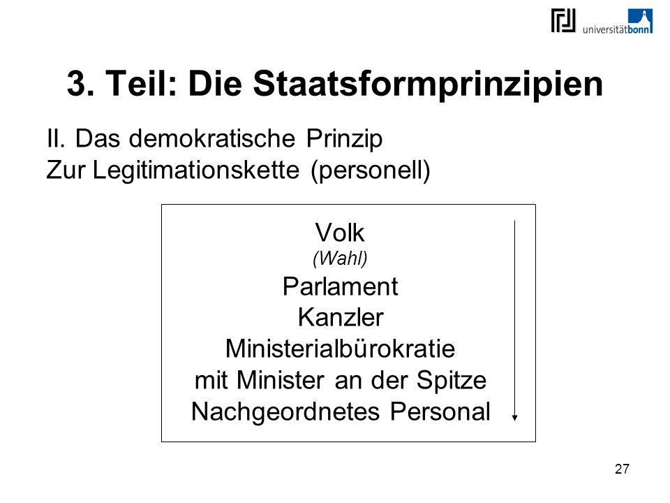 27 3. Teil: Die Staatsformprinzipien II. Das demokratische Prinzip Zur Legitimationskette (personell) Volk (Wahl) Parlament Kanzler Ministerialbürokra