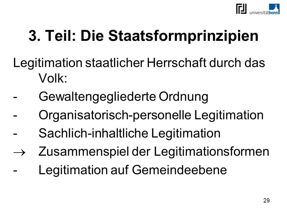 29 3. Teil: Die Staatsformprinzipien Legitimation staatlicher Herrschaft durch das Volk: -Gewaltengegliederte Ordnung -Organisatorisch-personelle Legi
