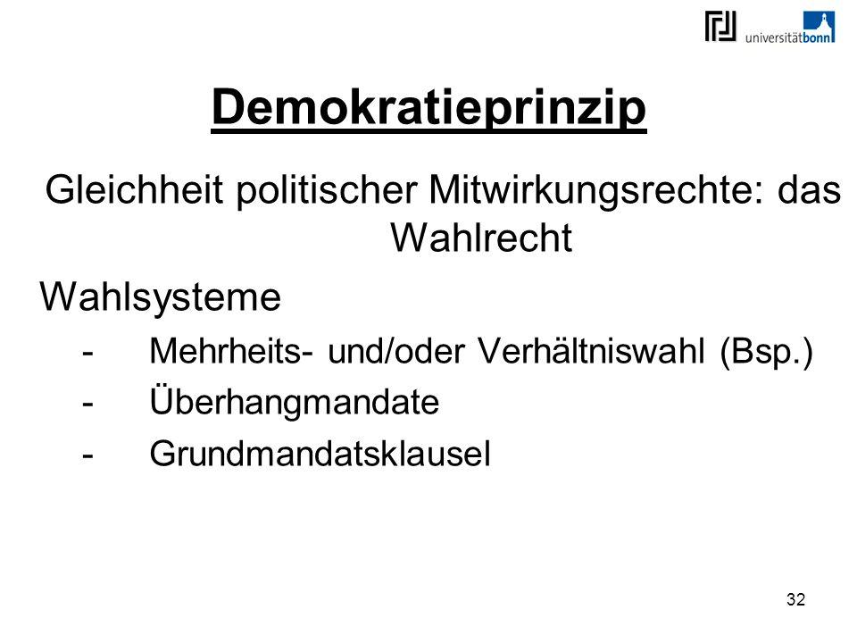 32 Demokratieprinzip Gleichheit politischer Mitwirkungsrechte: das Wahlrecht Wahlsysteme -Mehrheits- und/oder Verhältniswahl (Bsp.) -Überhangmandate -