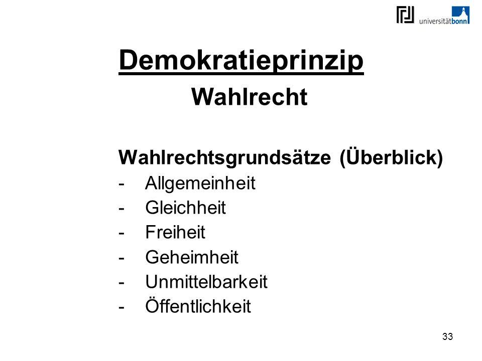 33 Demokratieprinzip Wahlrecht Wahlrechtsgrundsätze (Überblick) -Allgemeinheit -Gleichheit -Freiheit -Geheimheit -Unmittelbarkeit -Öffentlichkeit