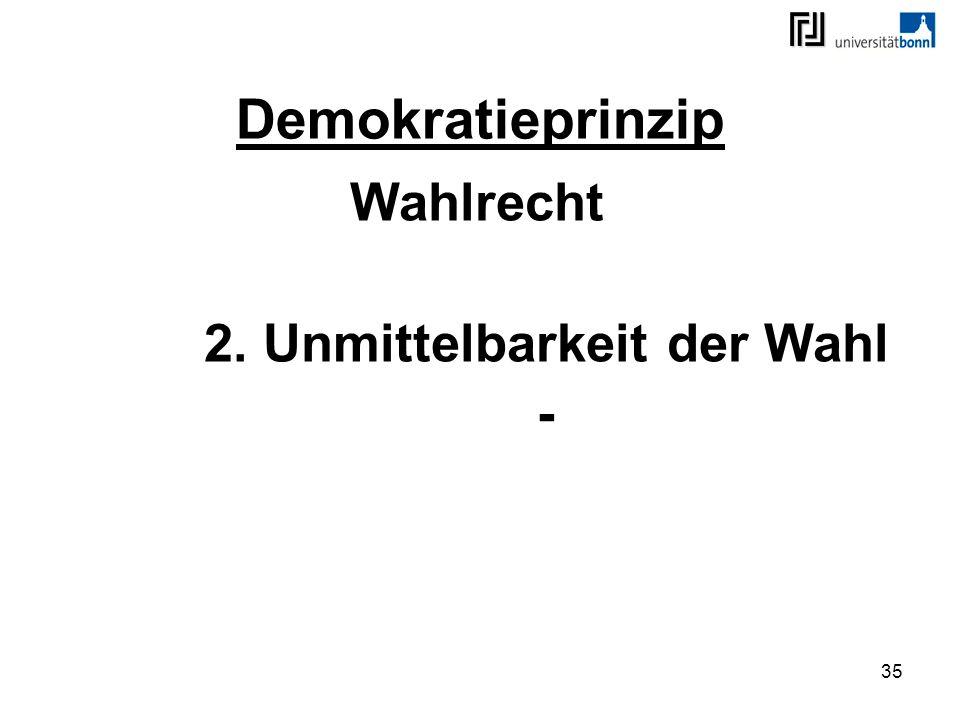 35 Demokratieprinzip Wahlrecht 2. Unmittelbarkeit der Wahl -