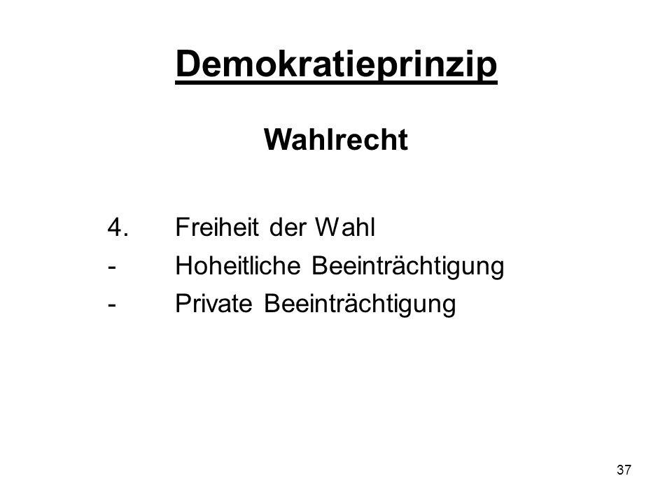 37 Demokratieprinzip Wahlrecht 4.Freiheit der Wahl - Hoheitliche Beeinträchtigung - Private Beeinträchtigung