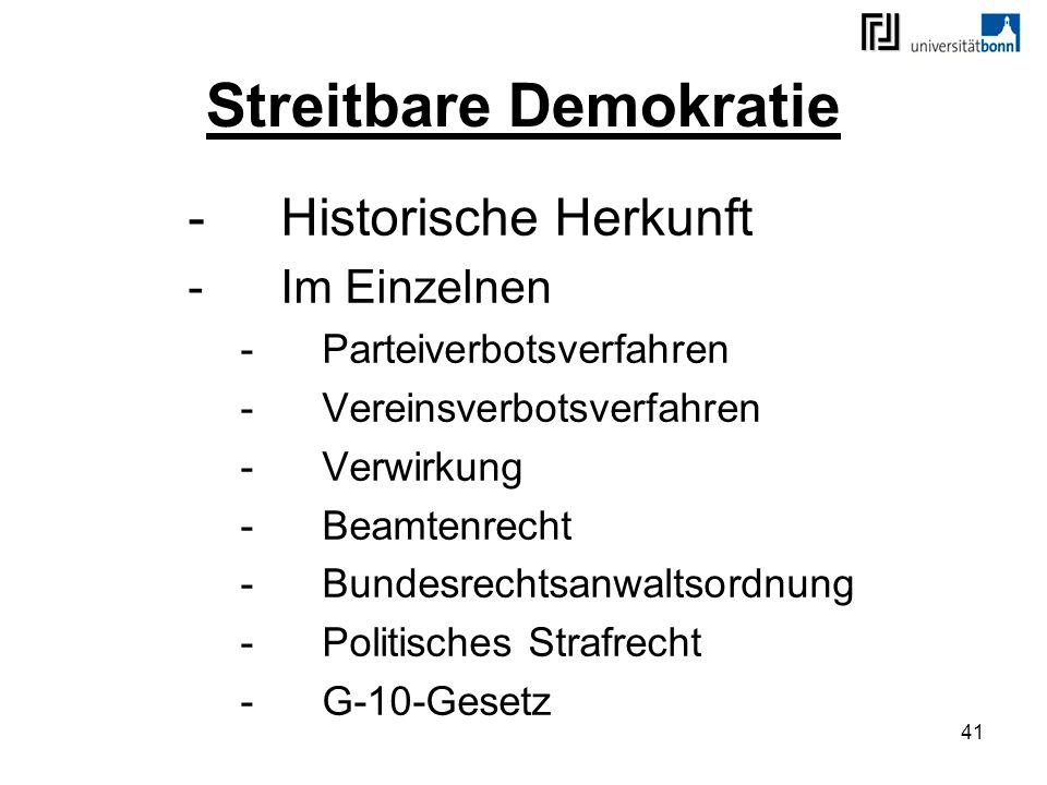 41 Streitbare Demokratie -Historische Herkunft -Im Einzelnen -Parteiverbotsverfahren -Vereinsverbotsverfahren -Verwirkung -Beamtenrecht -Bundesrechtsa