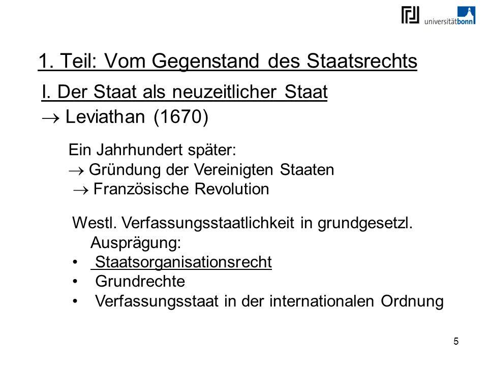 5 1. Teil: Vom Gegenstand des Staatsrechts I. Der Staat als neuzeitlicher Staat Leviathan (1670) Ein Jahrhundert später: Gründung der Vereinigten Staa
