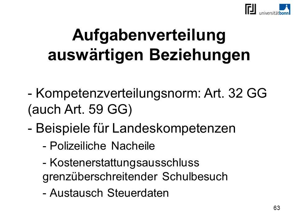 63 Aufgabenverteilung auswärtigen Beziehungen - Kompetenzverteilungsnorm: Art. 32 GG (auch Art. 59 GG) - Beispiele für Landeskompetenzen - Polizeilich