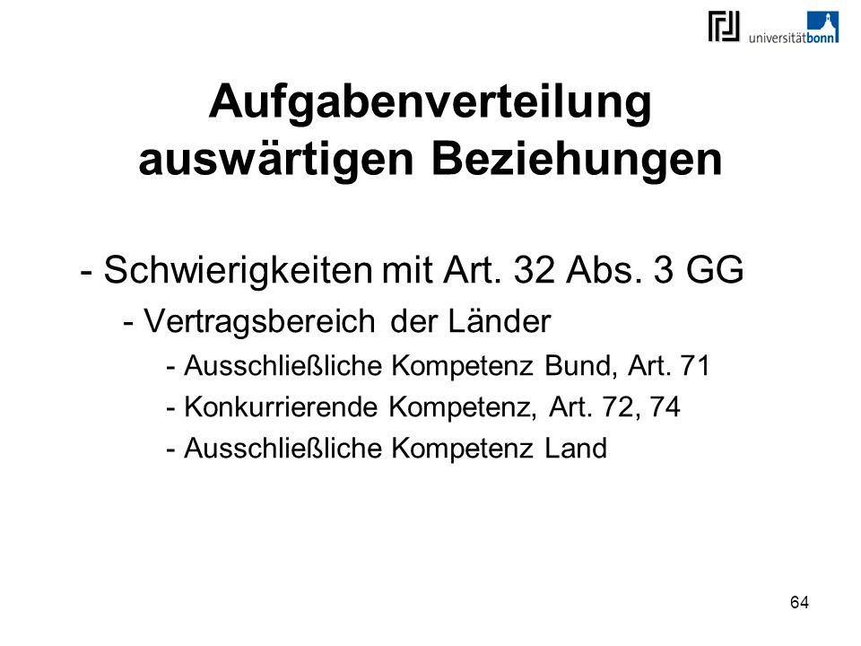 64 Aufgabenverteilung auswärtigen Beziehungen - Schwierigkeiten mit Art. 32 Abs. 3 GG - Vertragsbereich der Länder - Ausschließliche Kompetenz Bund, A
