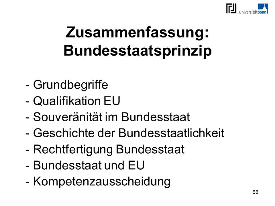 68 Zusammenfassung: Bundesstaatsprinzip - Grundbegriffe - Qualifikation EU - Souveränität im Bundesstaat - Geschichte der Bundesstaatlichkeit - Rechtf