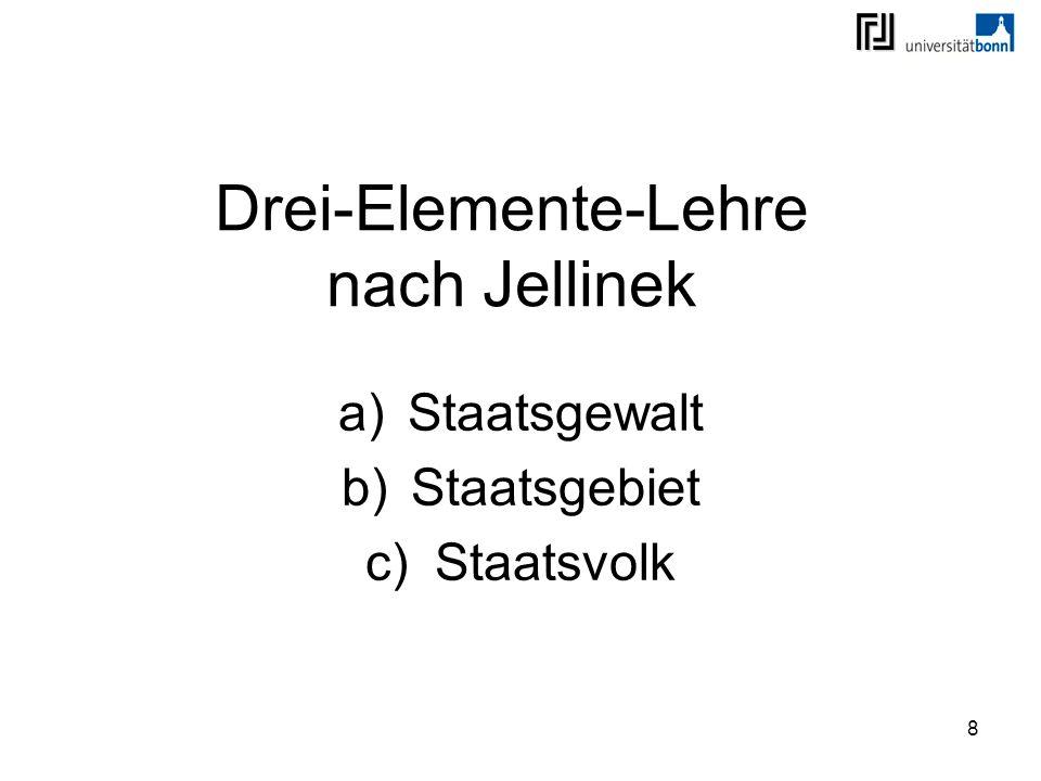 8 Drei-Elemente-Lehre nach Jellinek a)Staatsgewalt b)Staatsgebiet c)Staatsvolk