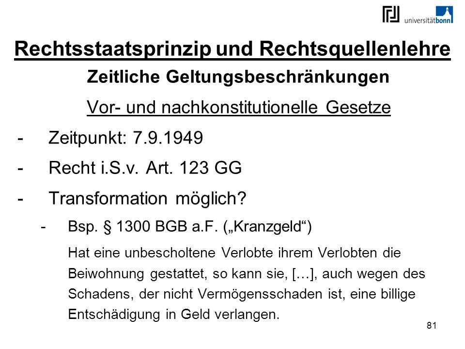 81 Rechtsstaatsprinzip und Rechtsquellenlehre Zeitliche Geltungsbeschränkungen Vor- und nachkonstitutionelle Gesetze -Zeitpunkt: 7.9.1949 -Recht i.S.v