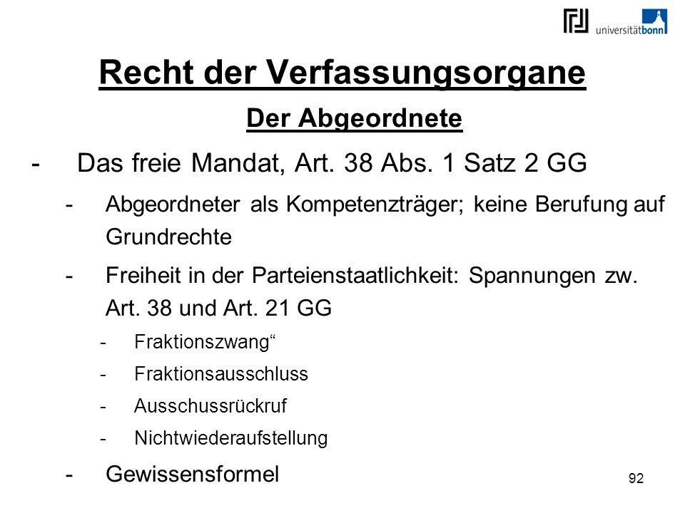 92 Recht der Verfassungsorgane Der Abgeordnete -Das freie Mandat, Art. 38 Abs. 1 Satz 2 GG -Abgeordneter als Kompetenzträger; keine Berufung auf Grund