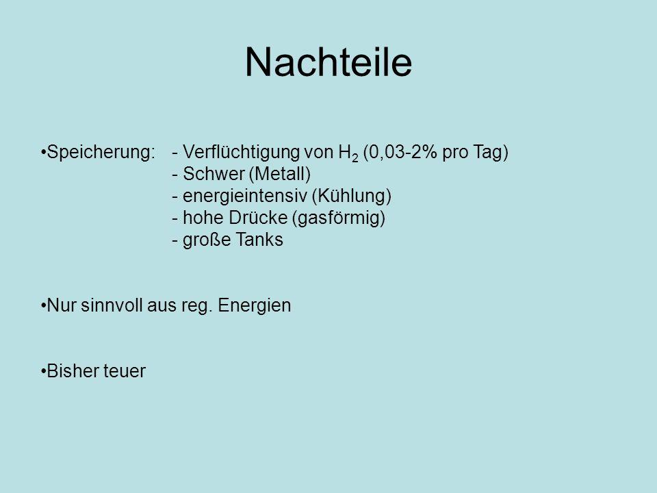Nachteile Speicherung:- Verflüchtigung von H 2 (0,03-2% pro Tag) - Schwer (Metall) - energieintensiv (Kühlung) - hohe Drücke (gasförmig) - große Tanks