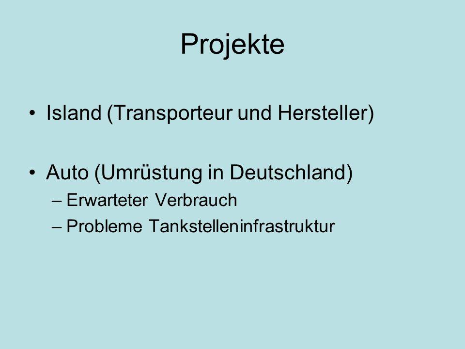 Projekte Island (Transporteur und Hersteller) Auto (Umrüstung in Deutschland) –Erwarteter Verbrauch –Probleme Tankstelleninfrastruktur