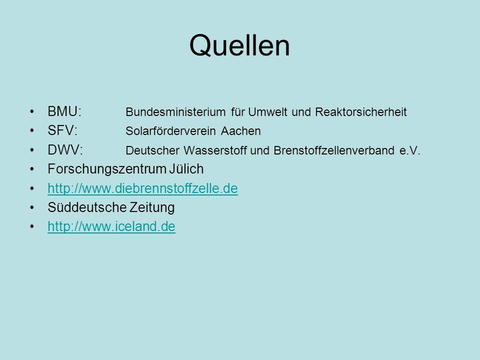 Quellen BMU: Bundesministerium für Umwelt und Reaktorsicherheit SFV: Solarförderverein Aachen DWV: Deutscher Wasserstoff und Brenstoffzellenverband e.