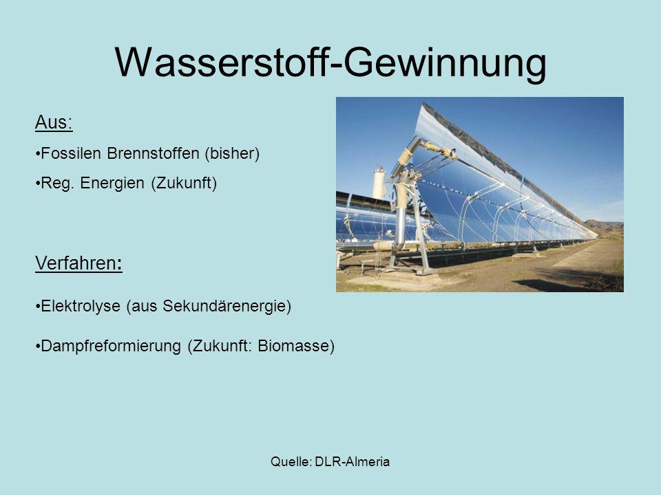 Quelle: DLR-Almeria Wasserstoff-Gewinnung Aus: Fossilen Brennstoffen (bisher) Reg. Energien (Zukunft) Verfahren: Elektrolyse (aus Sekundärenergie) Dam